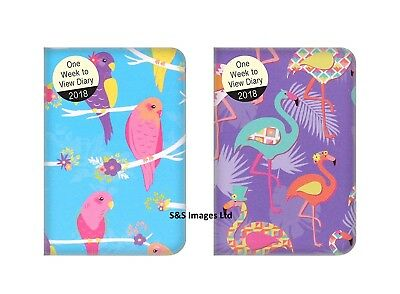 2018 Pocket Size Diary Week To View WTV Flamingo / parrots Fashion design Gift