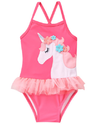Gymboree Toddler Girl Size 3T Pink Unicorn One-Piece Swimsuit NEW