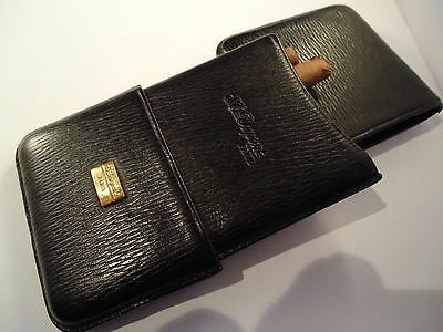 S.T. Dupont Leather Cigar Case - Black Calf Leather - Cigarillos or Small Cigars