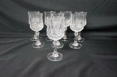 "8 Cristal D'arques Longchamp 6 1/2""  Lead Crystal Water/wine Goblets/glasses"