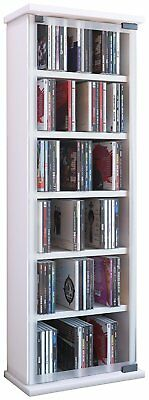 """VCM """"Classic"""" CD/DVD-Tower for 150 CDs, Wood, White"""