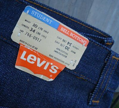 NOS Vtg Levis Student Bell Bottoms 30/34 746 Dura Plus Jeans USA Made Oldstock