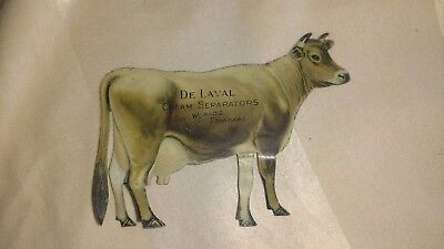 Vintage Metal Advertising Trade Card DE LAVAL CREAM SEPARATOR Jersey Cow stands
