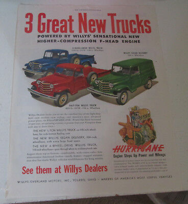 1950 original ad Willys 3 New Models/Types of Trucks