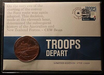 Australia 2014 Troops Depart 1914 Centenary Ww1 Medallion Pnc - Limited Edition
