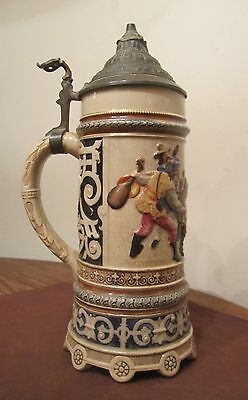 antique hand painted detailed lidded pewter 1 Liter German ceramic stein tankard