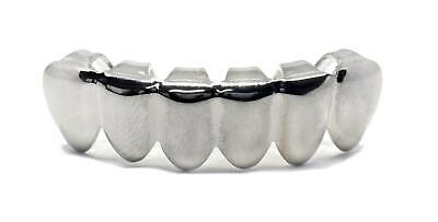 Bling grill Top Row Hiphop Grills - Removable Teeth - Silver Plated