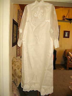 VTG 1960s Wedding Dress SM Handmade, White Lace Sequins Pearls, Train &Headpiece