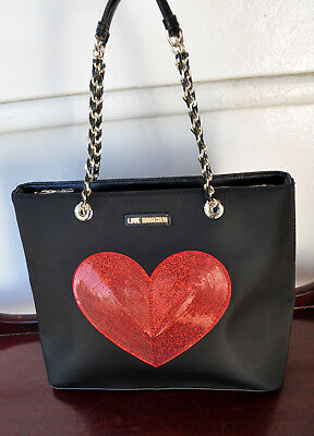 LOVE MOSCHINO I Love Sequin Heart Tote Bag Chain Strap Rare! Sold Out!