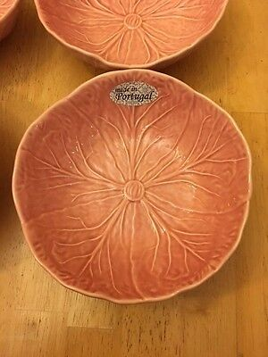 3 San Raphael by Bordallo Pinheiro Pink Cabbage Leaf Soup Cereal Bowls NEW
