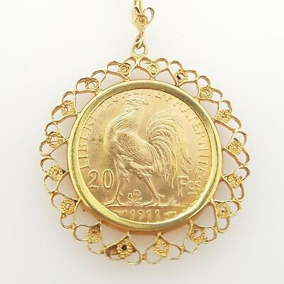 1911 French Rooster Coin 20 Francais 22ct set in 18ct Gold Pendant Preloved