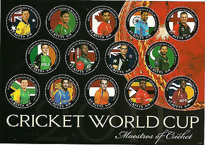 ST KITTS 2011 CRICKET WORLD CUP CAPTAINS Sheet with CORRECTED Designs MNH