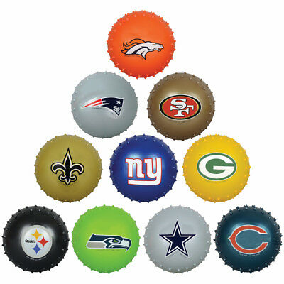 "YOU GET ALL 10 NFL 5"" KNOBBY BALLS Broncos Patriots Cowboys Steelers Packers!"