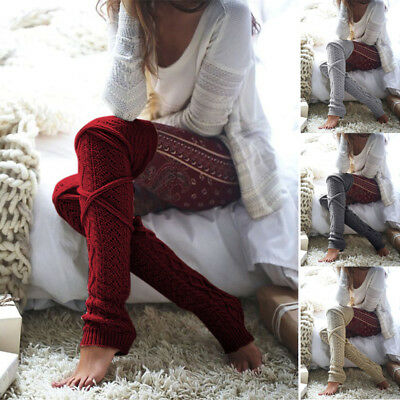Women Soft Winter Cable Knit Over knee Long Boot Warm Thigh High Socks MD