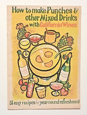 1960s How to Make PUNCH Vintage COCKTAILS California Wine Drink Recipes