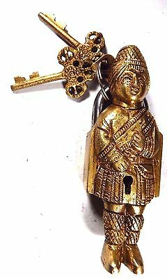 Soldier Design Handmade Antique Brass Padlock With Unique Key/Working Condition