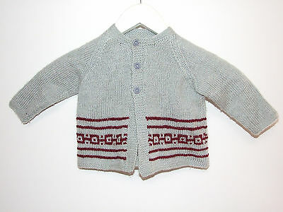 Grey & Maroon L/s Hand Knit Button Up Cardigan Size 0 - No Tags; Handmade