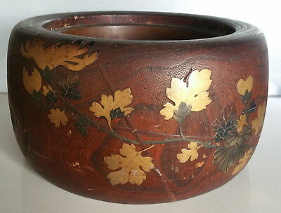 Large Gilt Meiji Lacquer Elm Japanese Planter Pot