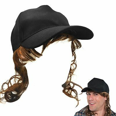 408c32db28400 Adult Trucker Redneck Cap Hat with Mullet Hair Wig Fancy Dress Costume  Accessory