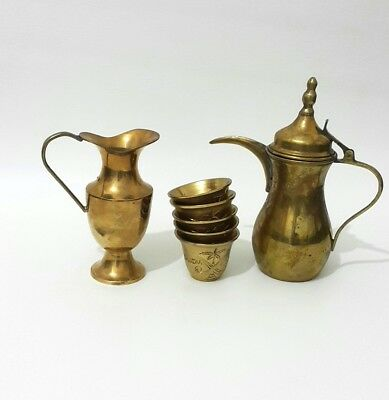 Antique Islamic Old Pot Coffee 5 Cups Brass Arabic Copper Bedouin Dallah Arabian
