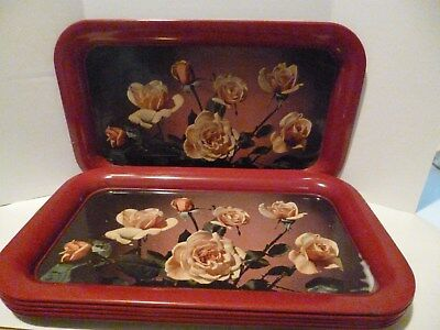Six Vintage Yellow Roses Metal Serving Trays
