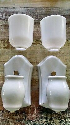 Pair Antique Porcelain Bathroom Sconces Wall Light Fixtures with glass shades