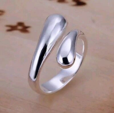 Stunning 925 Sterling Silver Classic Teardrop Tear Bean Spiral Ring