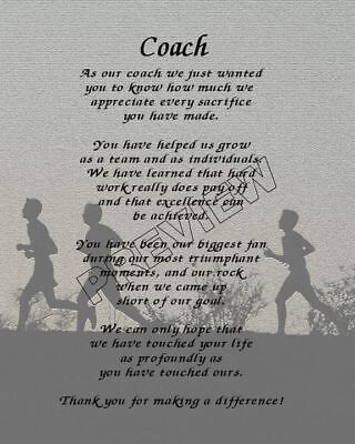 To Our Cross Country Coach Personalized Print Poem Year End Appreciation Gift