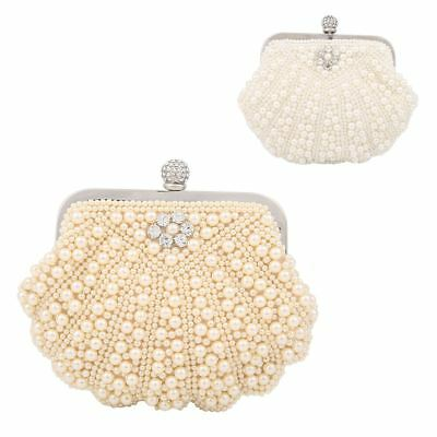 New Ladies Luxury Pearl Beaded With Diamante Clutch Bag Purse For Weddings Prom