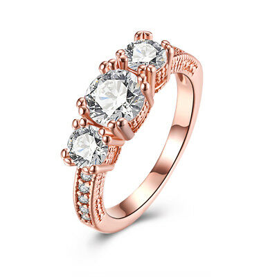TOP grade 3 ONES CLEAR zircon Women Engagement ROSE Gold Filled Promise Ring