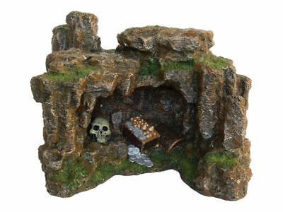 Rock Cave with Skull & Treasure Chest Decoration Ornament for Aquarium Fish Tank