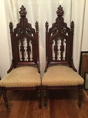 """Pair Antique Original Victorian Gothic Wooden Upholstered Chairs 54"""""""