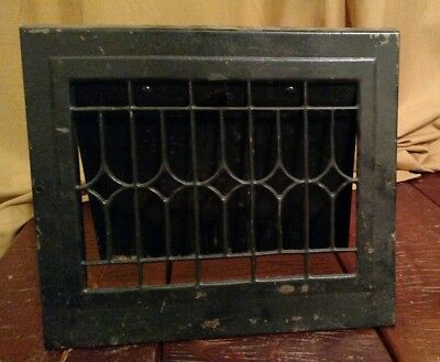 Vintage Metal Wall Heat Vent Grate Register Louver painted black (unit 12)