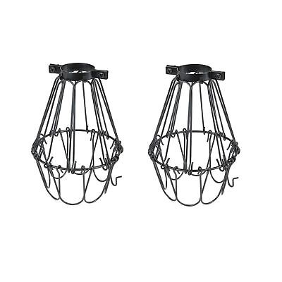 Set of 2 Industrial Vintage Style Black Hanging Pendant Light Fixture Metal W...