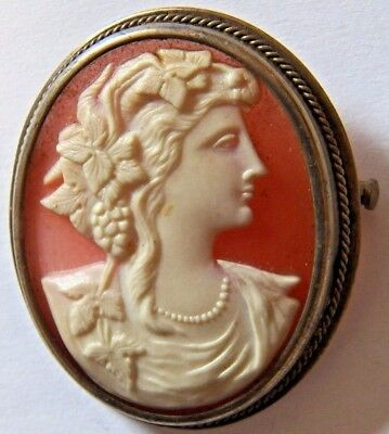 Silver 0.875 Carved Shell Cameo Brooch Grapes And Grape Leaves. Wife of Bachus.