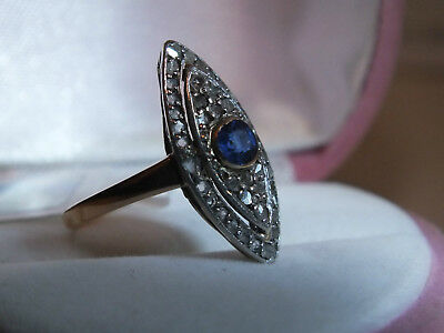 Antique ring Au750/Pt950/40 diamonds/1 sapphire