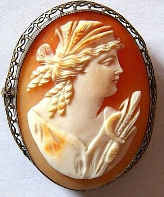 Huge Antique-Sterling Silver & Carved Shell Cameo Brooch FLORA Gorgeous Profile.