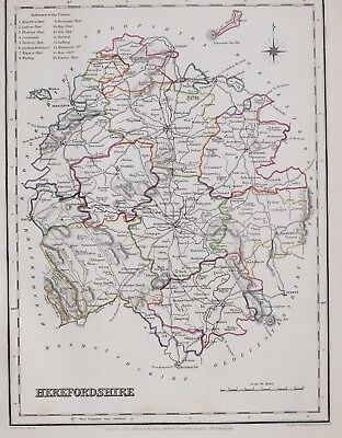 1845 Original Antique County Map Herefordshire Hand Coloured Creighton & Lewis