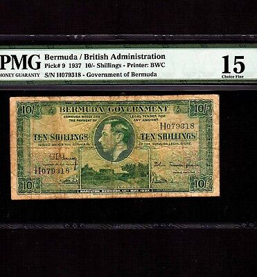 Bermuda, 10 Shillings 1937, P-9, PMG F 15 * Very Rare in Green * King George *