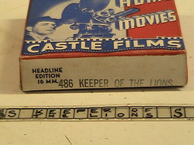 """HOME MOVIES Vintage Castle Films (486) """"KEEPER OF THE LIONS"""" 16mm"""