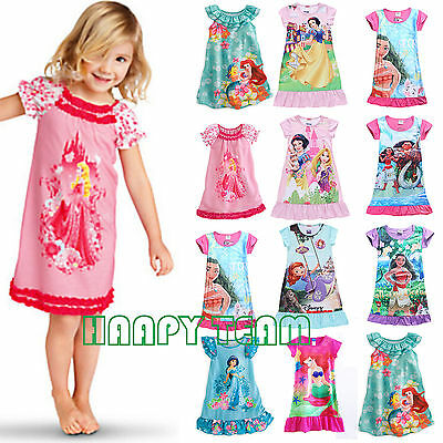 Kids Baby Girls Nightie Nightdress Party Dress Blouse Outfits Top Pyjamas 2-13Y