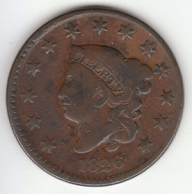 1826 Coronet Head Large Cent  Free S/H