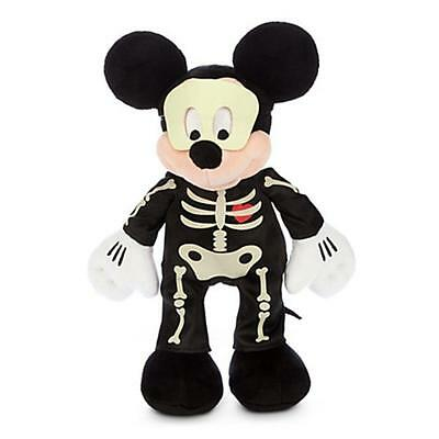 Mickey Mouse GLOW IN THE DARK Stuffed Plush Soft Toy Doll Figure Skeleton NEW!