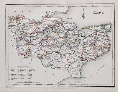 1845 ORIGINAL ANTIQUE COUNTY MAP KENT HAND COLOURED by CREIGHTON & LEWIS