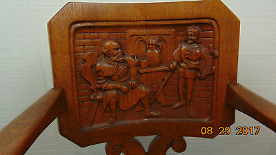 Victorian Antique  wood carved Oak Pub rocking Chair old and young knight