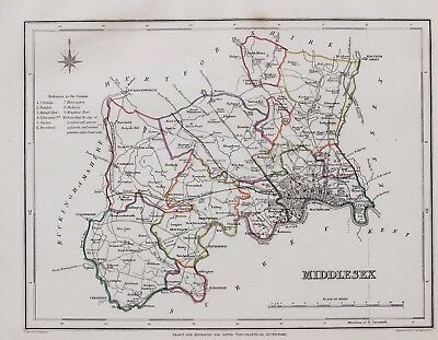 1845 ORIGINAL ANTIQUE COUNTY MAP MIDDLESEX HAND COLOURED by CREIGHTON & LEWIS