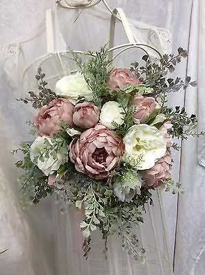 Made To Order Artificial Silk Pinks Peony  Rustic Foliage Silver Wedding Bouquet