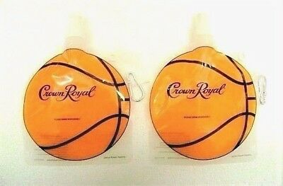 Crown Royal Whiskey Basketball Lot of 2 Collapsible Water Bottles RARE New HTF