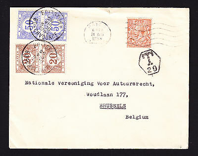 KGV GB perfin stamp on 1933 cover to Belgium with postage due stamps T20 cachet
