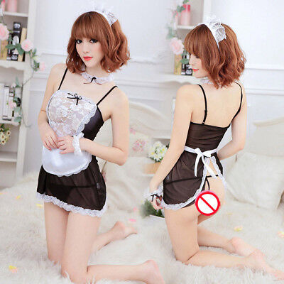 Sexy Naughty French Maid Lingerie Role Play Costume Unique Design Babydoll Dress